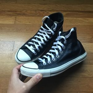 Leather Converse Chuck Taylors High Tops